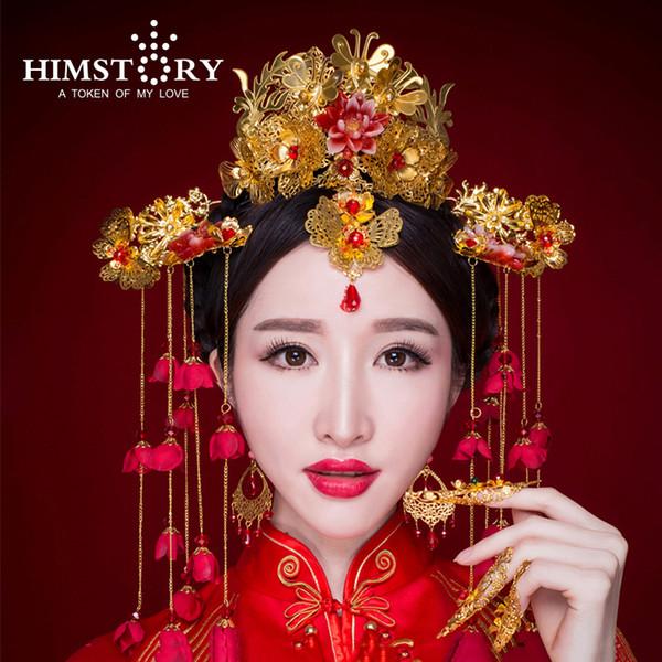Chinese Traditional Bridal Headdress Long Red Flower Tassels Hairpin Women Butterfly Headwear Wedding Hair Jewelry X912