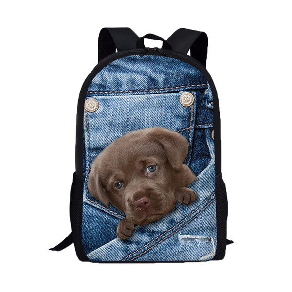 3D Animal Print Cat Dog Backpack Mujeres Mochilas de moda Male Travel Mochila Student School College Shoulder Bags