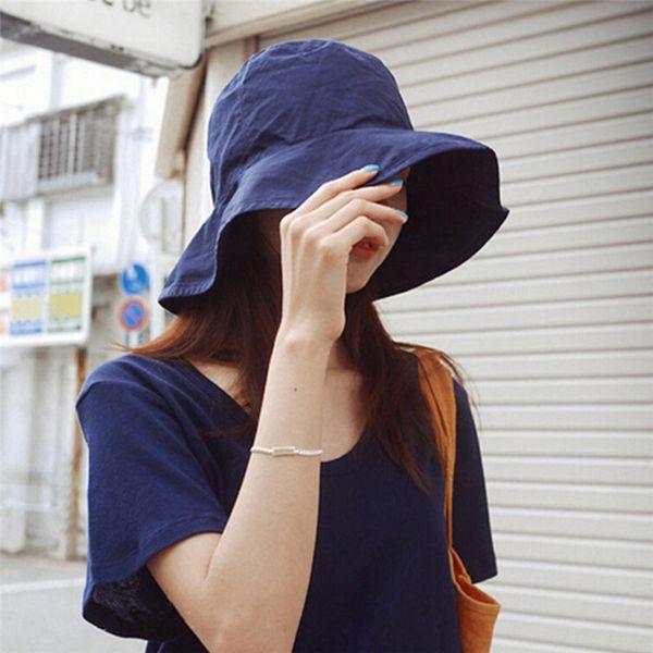 1PC Spring Summer Women Hat Unisex Flat Cotton Bucket Hat Travel Sun Female Male Black Fisherman Cap