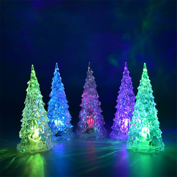 MINI Christmas Tree Led Lights Crystal Clear Colorful Xmas Trees Night Light New Year Party Decora Flash Bed Lamp Ornament Club Sale Cosplay