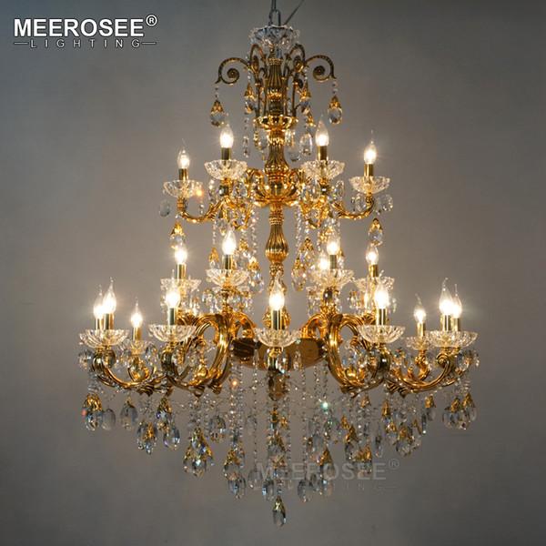 Araña de cristal de lujo, grande, elegante, color plateado y dorado, luminaria de suspensión para el restaurante del hotel, Foyer Home