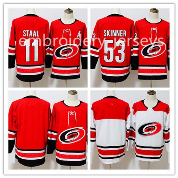 new carolina hurricanes season jersey 11 staal 53 jeff skinner hockey jerseys stitched blank version