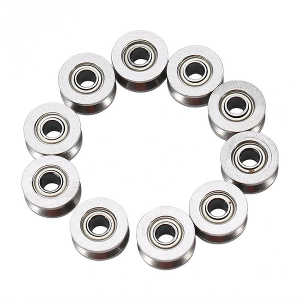 10pcs U624ZZ U Groove Ball Bearing Guide Pulley For Rail Track Linear Motion System 4*13*7mm mounted bearing