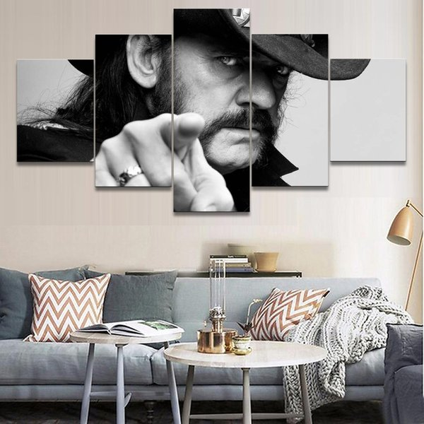 5 Pieces Canvas Printed Painting Music Motorhead Decoration Wall Art Pictures Painting Singer Poster Home Decor Bedroom Cuadros Y18102209
