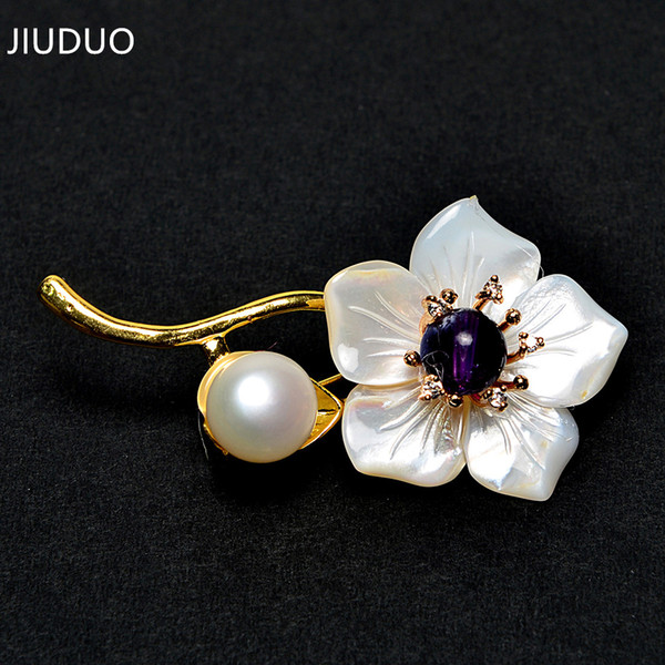 Korean fashion accessories with wild luxury gray pearl pendant crystal brooch corsage needle collar flower clothing women