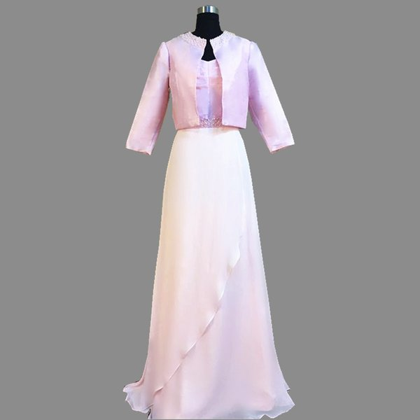 2018 Ghands JJShouse Beading Chiffon\Taffeta A-Line Tow piece of Suit long Sleeves Floor-Length Wedding Guest Mother of The Bride Dresses