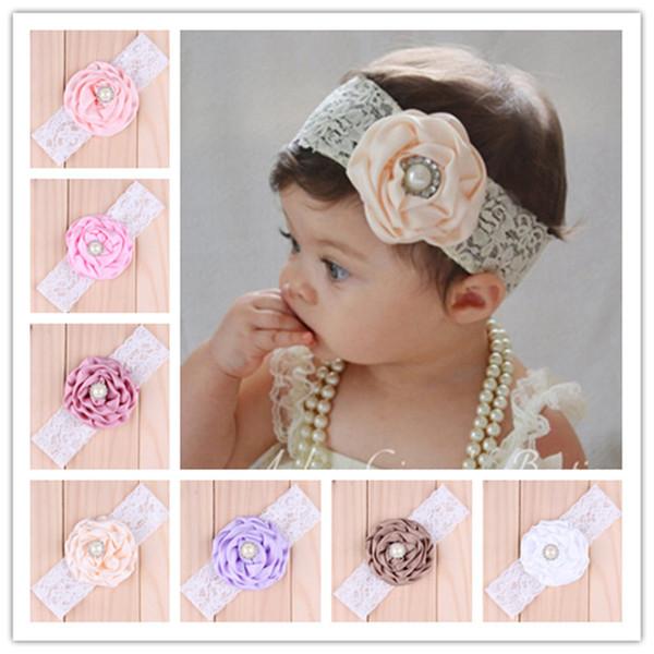 16 colores del bebé infantil de la flor perlas de la cabeza de la muchacha del cordón de los niños del bebé accesorios de la fotografía NewBorn arco accesorios para el cabello vendas del pelo del bebé