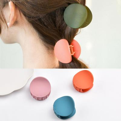 Japan And Korea Simple Frosted Round Acrylic Pure Color Grip Clip Round Ponytail Hair Clip Top Hair Plate Hair Decoration