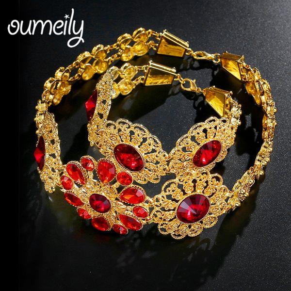 Großhandel Oumeily Türkisch Schmuck Goldfarben Schmucksets Für Frauen Hochzeit Afrikanische Brautblumen Schmuck Set Roter Kristall Von Junemay 2317