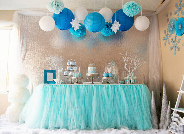 100*80cm Mint Green Tulle Table Skirts Wedding Tutu Table Decoration Cheap Creative Baby Showers Wedding Decorations Birthdays Party Decor