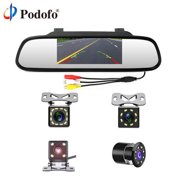 """GPS Podofo 4.3"""" Car Rearview Mirror Monitor Auto Parking System + LED Night Vision Backup Reverse Camera CCD Car Rear View Camera"""