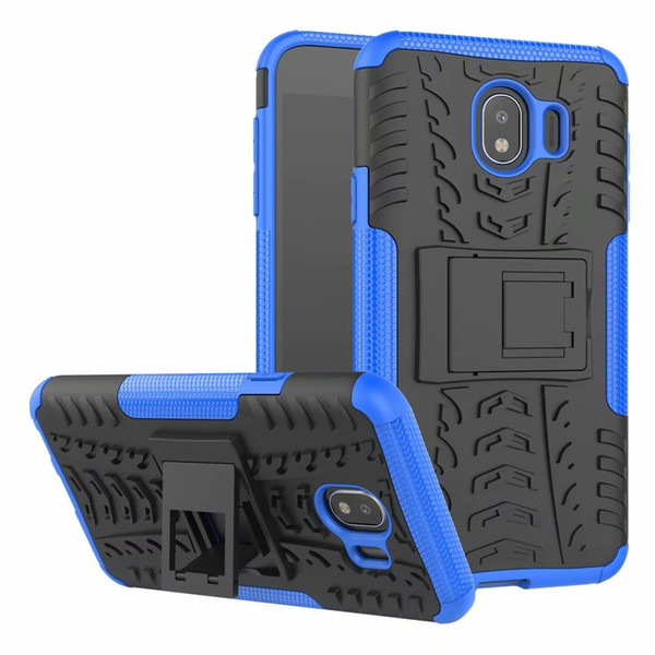 For Samsung Galaxy J4 2018 EU Version Rugged Hybrid Armor Heavy Duty Hybrid TPU Stand Impact Plastic Case Hard Shock Proof Cover