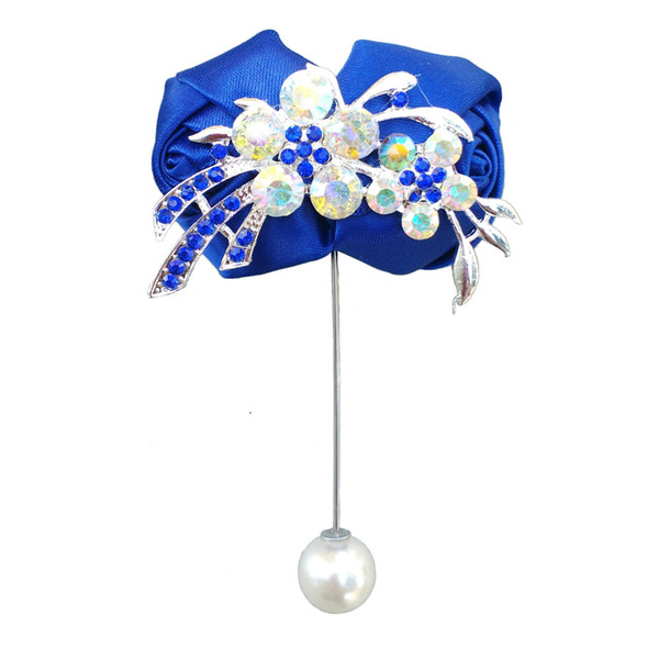 6 piece/lot DIY handmade treasure blue with diamond corsage groomsmen bridesmaid wedding boutonniere men's fashion brooch XH5999