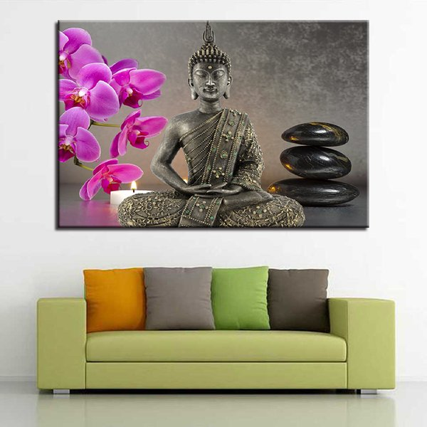 Canvas Paintings Home Decor HD Prints Buddha Statue Pictures 1 Piece/Pcs Orchid Candles Stones Poster Living Room Wall Art Frame