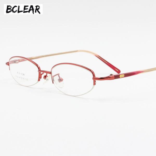 BCLEAR Women montatura per occhiali semi-senza montatura occhiali piccola taglia piccola viso moda donna lega classica montatura opale rosso rosa viola