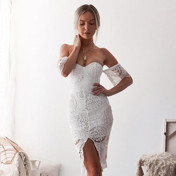 Sexy Lace Night Club Dresses for Women Short Sleeve Hollow Out Strap Dress Split Bodycon Midi Dresses
