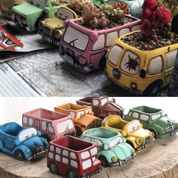 Cartoon Vase en céramique Plantes Succulentes Mini Garden Vintage voiture en forme Flowerpot Camion Planteur Miniature Planters Accueil Bureau Décoration