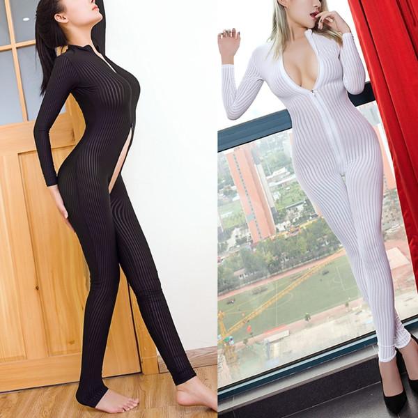 Kadın Lingerie Crotchless Bodysuit Uzun Kollu Fermuar Tulum Kıyafeti Catsuit bel eğitmen