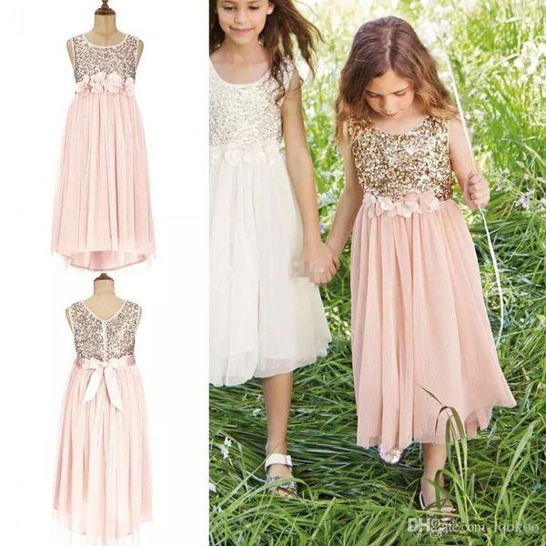 2018 Blush Flower Girls Dresses Gold Sequins Hand Made Flower Sash Tea Length Tulle Jewel A Line Kids Formal Dress Junior Bridesmaid Dress