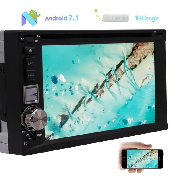 4G Dongle+Android 7.1 Quad Core Car Stereo car DVD Player 6.2''TouchScreen Double 2Din In Dash HeadUnit GPS Navigation AM/FM Radio