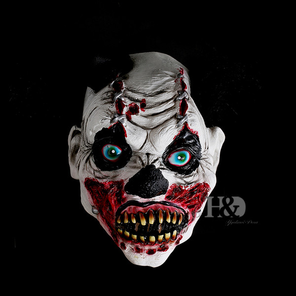H&D Halloween Bloody Devil Mask Scary Clown Latex Full Face Mask Cosplay Horror Masquerade Mask Ghost Party Decoration