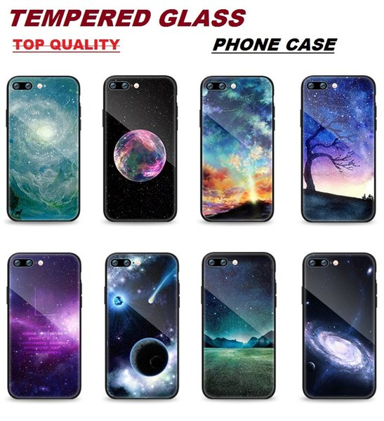 Premium 9H Tempered Glass Back Cover Phone Case TPU with Luxury Star Sky Painted Design Cellphone Skin for IPhone X 8 7 6S 6 Plus Cases