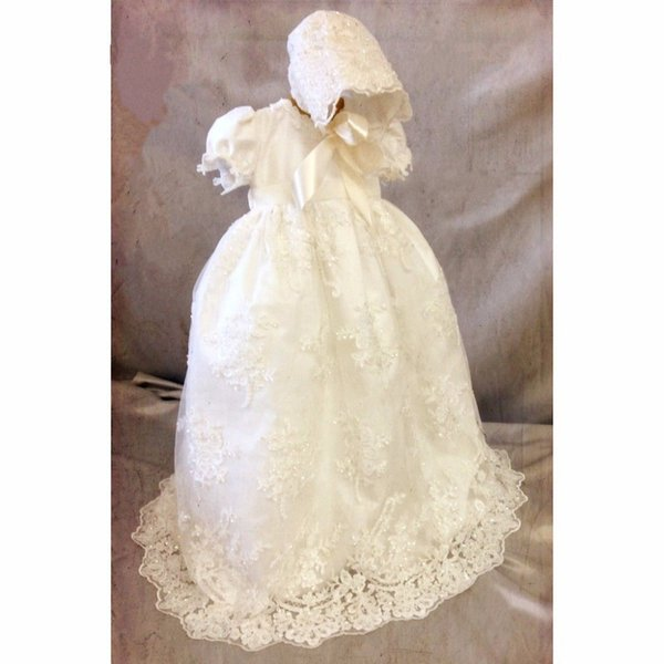 Enchanting Baby Girls Christening Gown Lace Beaded with Hat Size 0-24month