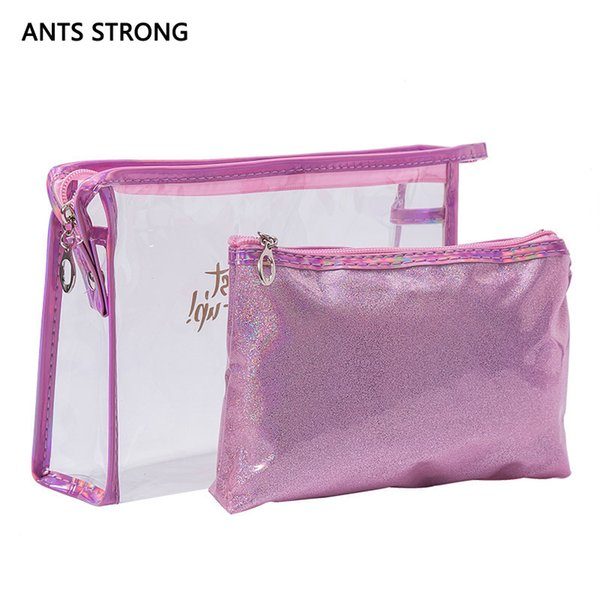ANTS STRONG fashion laser cosmetic bag set/Women Neceser Make Up Bag PVC Pouch Wash Toiletry Travel Organizer Case