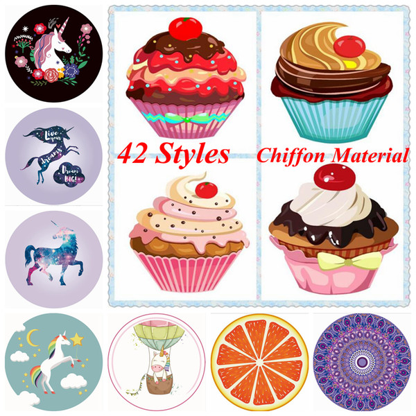 Unicorn Mandala Beach Towel 42 Styles Chiffon Ice Cream Fruit Pizza Printed Round Picnic Summer Swimming Bath Towels Outdoor Pads OOA5127