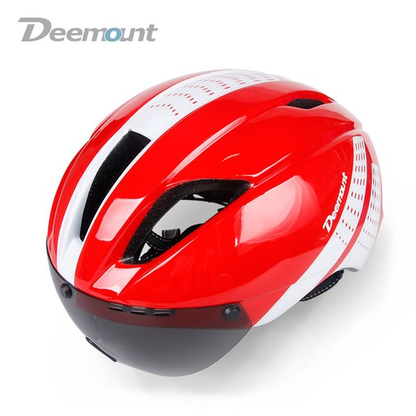 Deemount Hmt -013 Sturdy Built Evade Aero Cycling Helmet Bicycle Mtb Mountain Road Biking Safety Cap W /Goggle Lens In -Mold