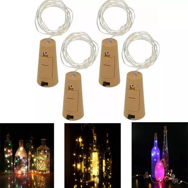 1M 10LED 2M 20LED Lamp Cork Shaped Bottle Stopper Light Glass Wine LED Copper Wire Strings Lights For Xmas Party Wedding Halloween