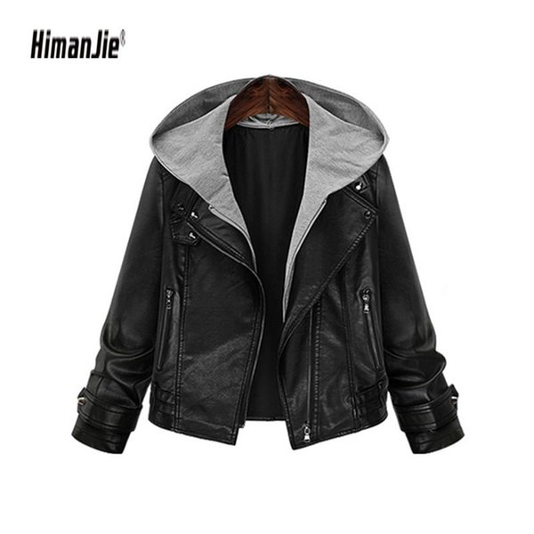 2018 New Women Faux Leather Jacket Two-Piece Leather Motorcycle PU Jacket Hooded Fake for Autumn And Winter