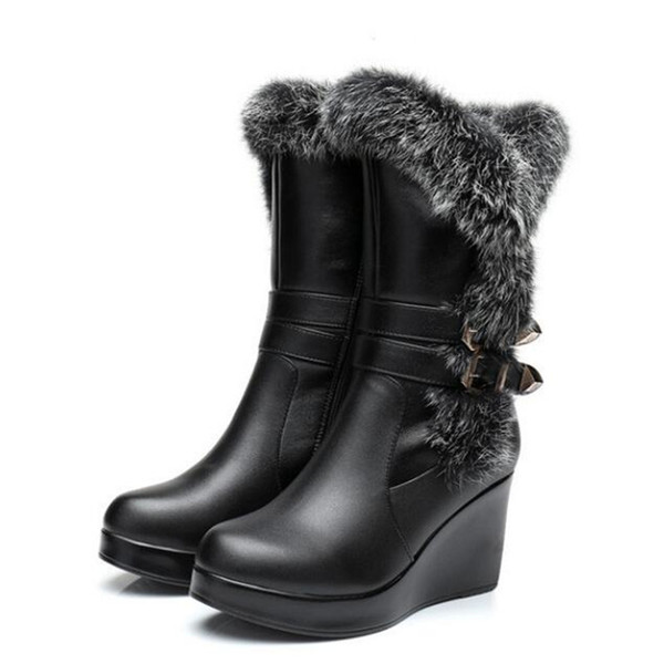 Most popular 2018 New Fashion Winter Warm Comfort Real Rabbit Hair Cowhide Leather Boots Snow Boots Women Shoes Boots Wedges High Heels