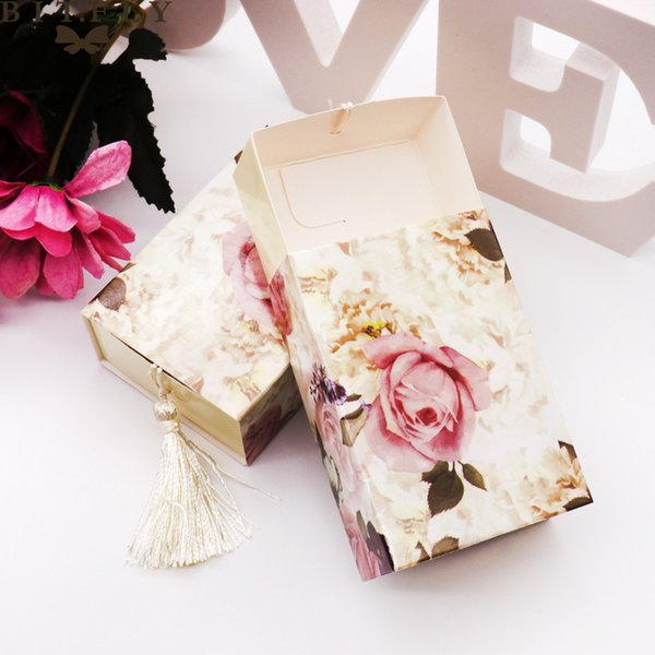 Gift Bags & Wrapping Supplies 50pcs wedding candy Drawer Shaper Favor Travel Candy Flowers Wedding Favors Gift Box Chocolate