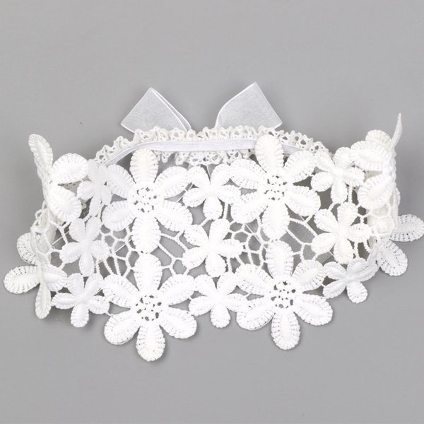 Lovely Embroidery Soild White Lace Flower Children Headbands Sweet Mesh Ribbon Bows for Girls Hairbands Hair Accessories Turban