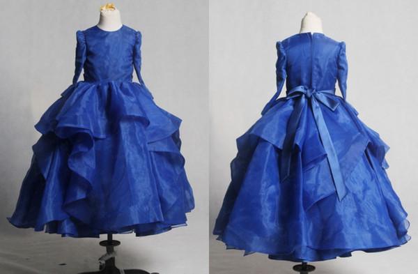 Royal Blue Vintage Prima Comunione Abiti 2018 Ball Gown Organza Maniche lunghe Ruffle Ribbon Zipper Torna a buon mercato Flower Girls Dress Long