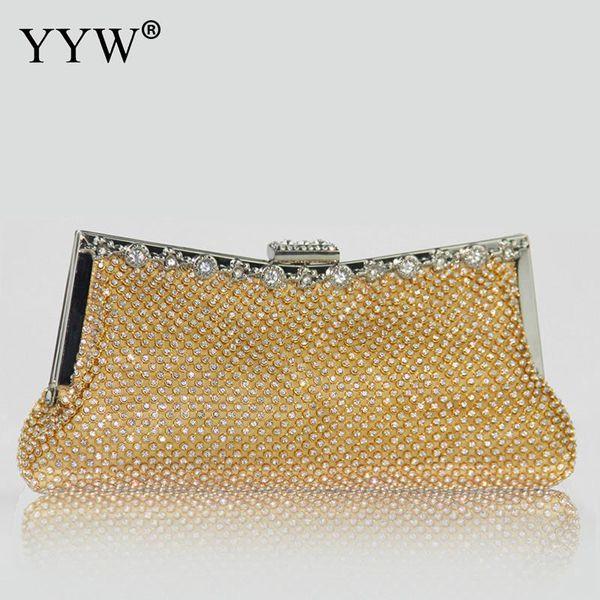 Luxury Clutch Women Bag Designer Gold Evening Party Bag For Female 2018 Lady'S Polyester Diamonds Handbag Famous Brand Frame