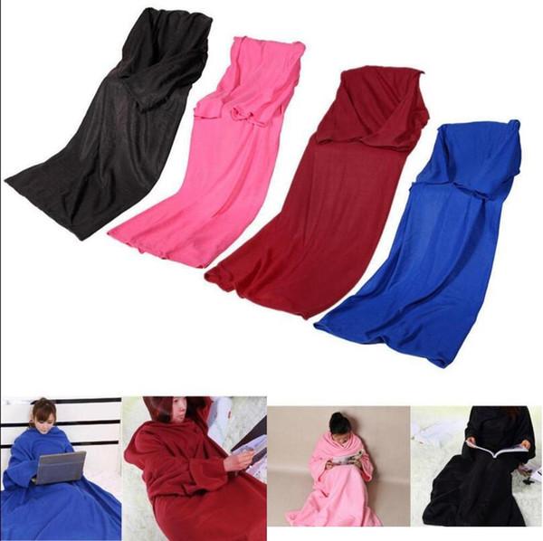 top popular Soft Warm Fleece Snuggie Blanket Robe Cloak With Cozy Sleeves Wearable Sleeve Blanket Wearable Blanket 4colors 2019