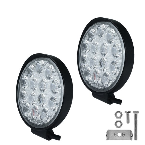 42w Round Flood Led Light Bar Led Off Road Work Lights Driving Fog Lights Ip67 Waterproof For Off Road Truck Jeep Portable Outdoor Lighting Portable