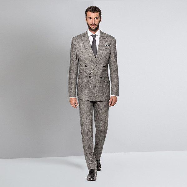 bottom price get cheap select for best 2019 Custom Grey Suit Tweed Wedding Suits For Men Tuxedo Groom Blazer  Jacket Double Breasted Suit Peaked Lapel Terno Slim Fit From Hongxigua,  $181.37 ...