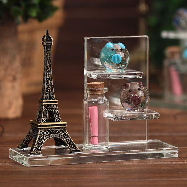 Alta Qualidade Torre Eiffel PIG Vidro Frasco De Cristal Decorativo Artesanato Presente Luminescente Claro Pequenas Garrafas com rolhas Brilhando Jarros