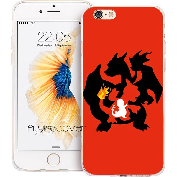 Coque Cartoon Charmander Clear Soft TPU Silicone Phone Cover for iPhone X 7 8 Plus 5S 5 SE 6 6S Plus 5C 4S 4 iPod Touch 6 5 Cases.