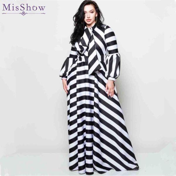 2019 Misshow Plus Size Striped Lantern Sleeve Women Dress Black White  Casual Loose Bowtie Neck Maxi Dress For Women Robe Femme From Sideceam,  $38.68 | ...