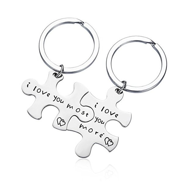 "Letter ""I Love You Most/More ""Steel titanium Puzzle keychain Key RingS"