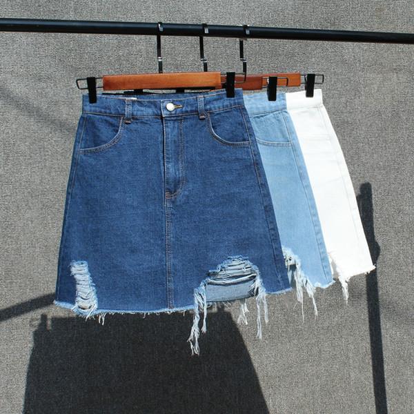 haute qualité été nouvelle version coréenne femme taille haute Slim jupe en jean sauvage filles étudiants trou trou hanche grande taille A-Line