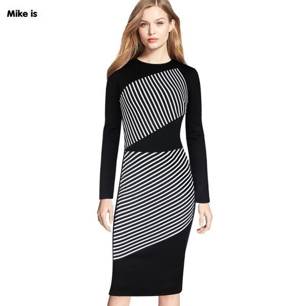 2018 nouveau motif rayé noir et blanc couleur hit col rond manches longues jupe crayon tailleur-robe