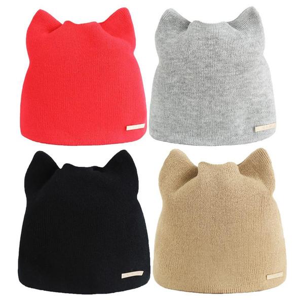 Korean Version Solid Color Simple Warm Earmuffs Hat For Women Cat Beanies Ear Flaps Hat Ladies Skullies Touca Cap Y18102210