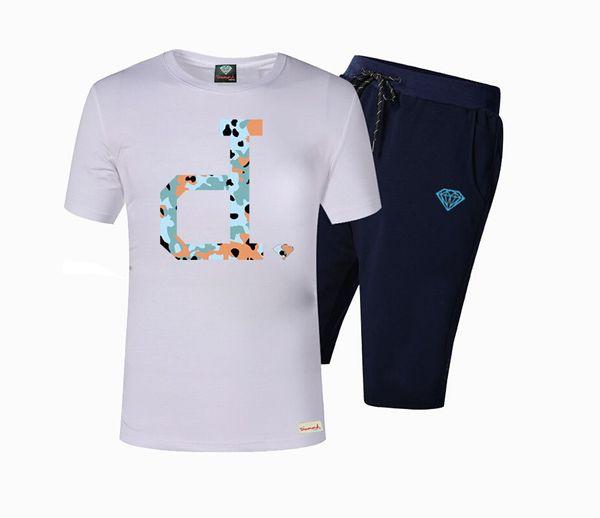brand summer t shirt men's casual short sleeve cotton tops tees print diamond supply men t shirt hip hop male T-shirt DTZ04
