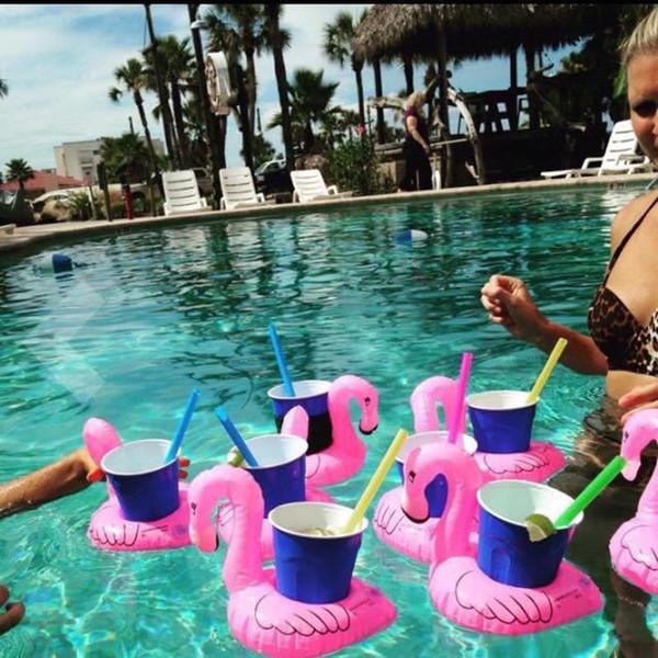 5X Luftmatratzen für Cup Aufblasbare Flamingo Getränke Cup Holder Pool Schwimmt Bar Untersetzer Schwimmhilfen Rosa ES1533
