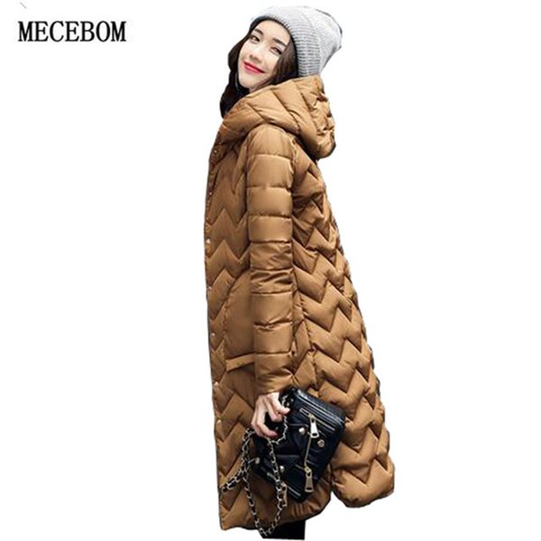 b627e433a05 MECEBOM 2017 New Fashion Autumn ladies long winter women's feather padded  in the long thin Korean slim Hooded Dress Coat Jacket on sale